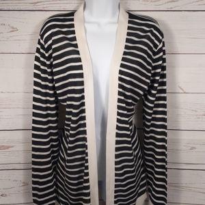 LOFT Open Frond Black & White Striped Cardigan XL
